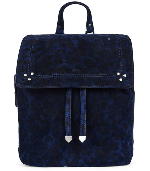 Jerome Dreyfuss Navy Suede Leopard Florent Backpack