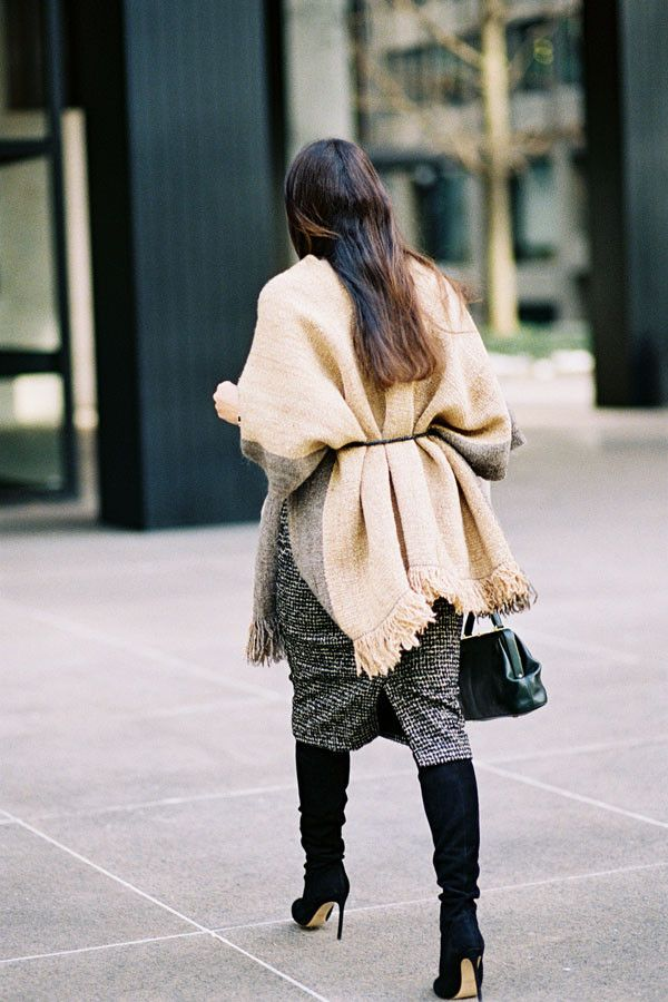 A Flattering Way to Wear a Poncho This Season