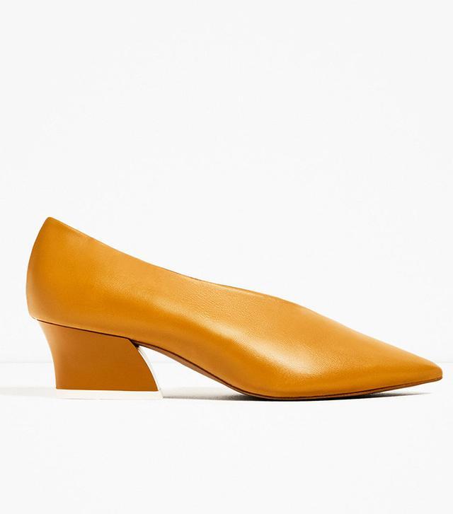 Zara V-Shape Cut Leather Shoes