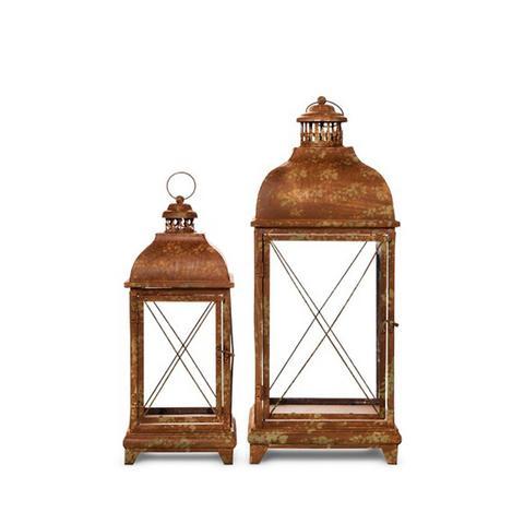 Metal Lanterns With Antique Finish, Set of 2