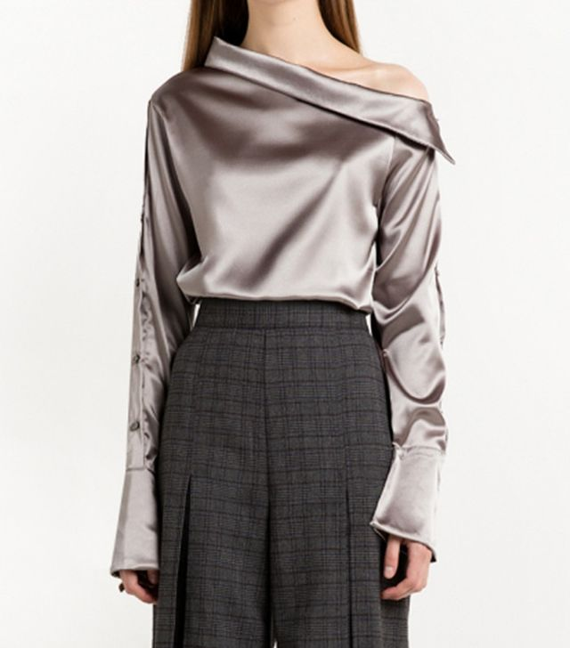 Pixie Market Grey Satin Button One Shoulder Shirt