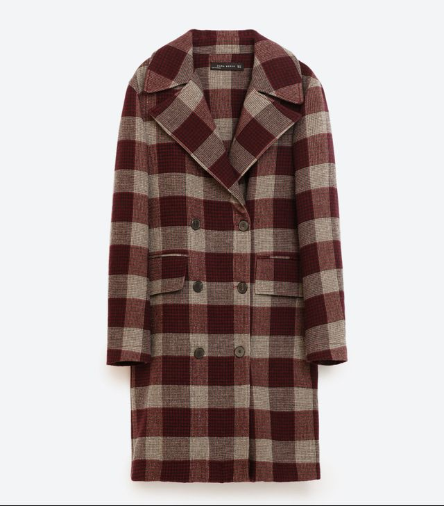 Zara Burgundy Grey Check Coat