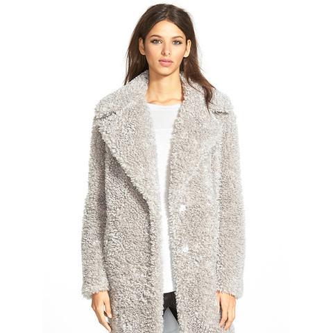 Teddy Bear Notch Collar Faux Fur Coat