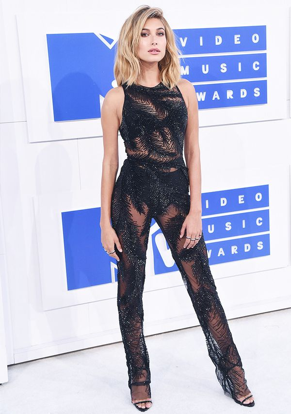 Style Notes: Giving the naked dress trenda run for its money, Hailey's Georges Chakrajumpsuit choice for the 2016 MTV Awards was an inspired one.