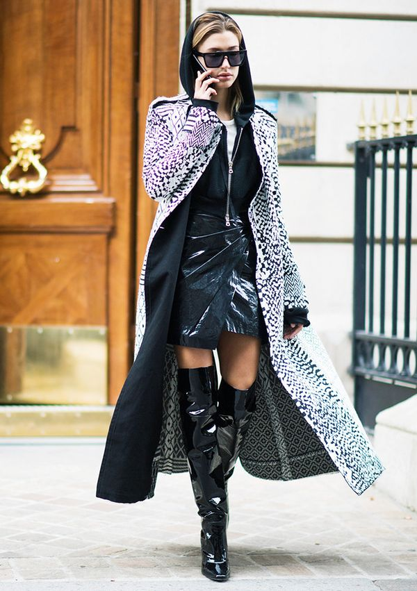 """Style Notes: Who wore a patent skirtway before the rest of the fashion world? Hailey """"I See Into the Future"""" Baldwin."""