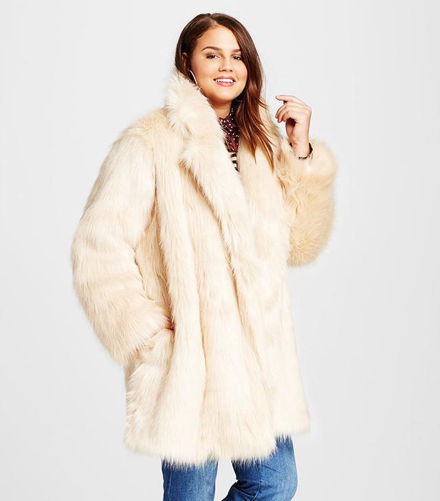Who What Wear Plus Size Fur Jacket