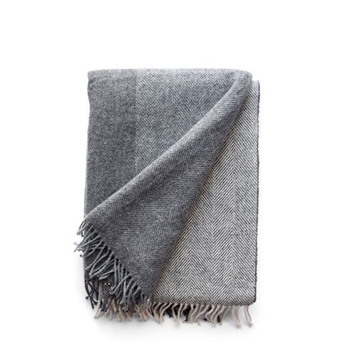 Irish Grey Block Wool Throw