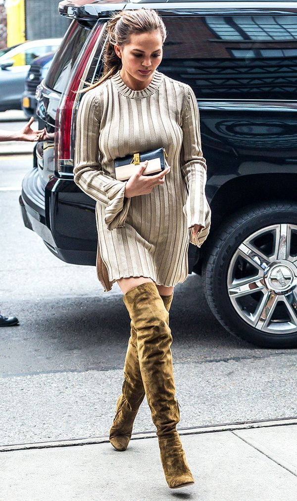 Chrissy Teigen is seen at her hotel on September 28, 2016 in New York, New York.