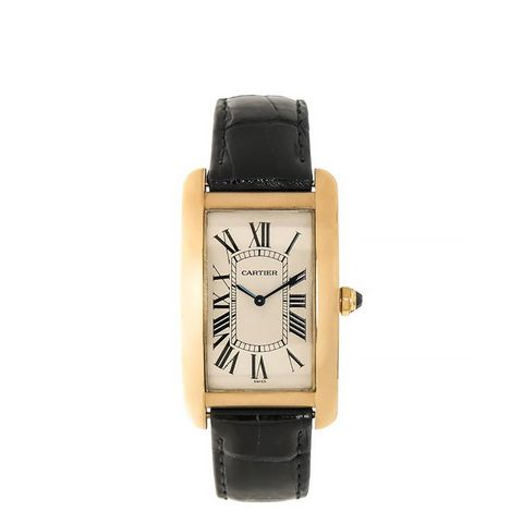 Vintage Yellow Gold Tank Americaine Wristwatch