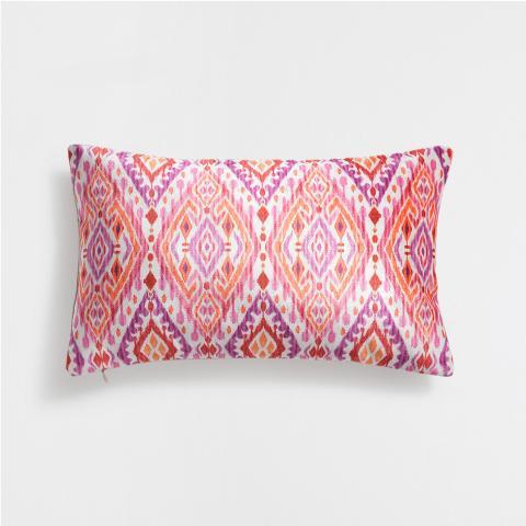 Pink Ikat Velvet Cushion Cover