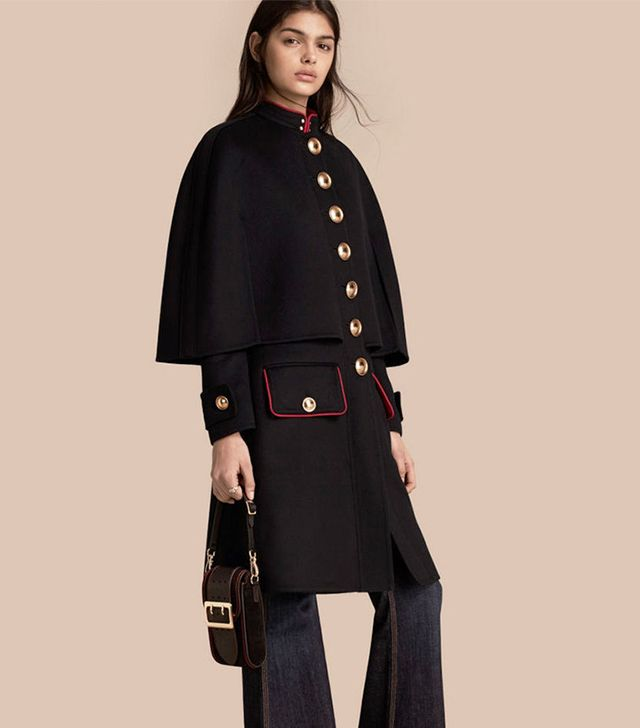 Burberry Military Detail Wool Cashmere Cape Coat