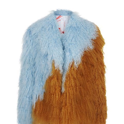 Blue & Yellow Fur Tibetan Jacket