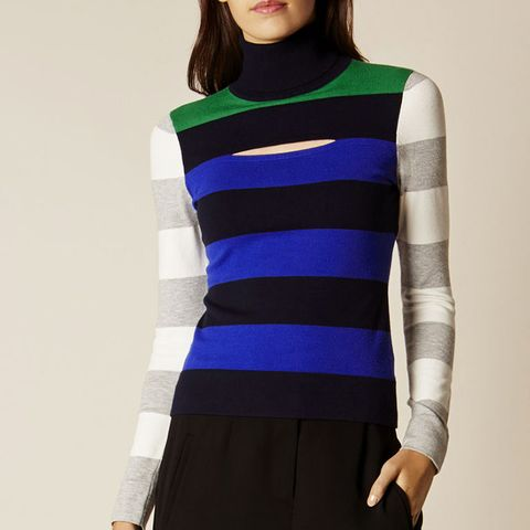 Colourblock Stripe Turtleneck