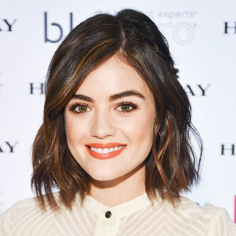 Hair colour ideas: Lucy Hale with brown hair and blonde balayage