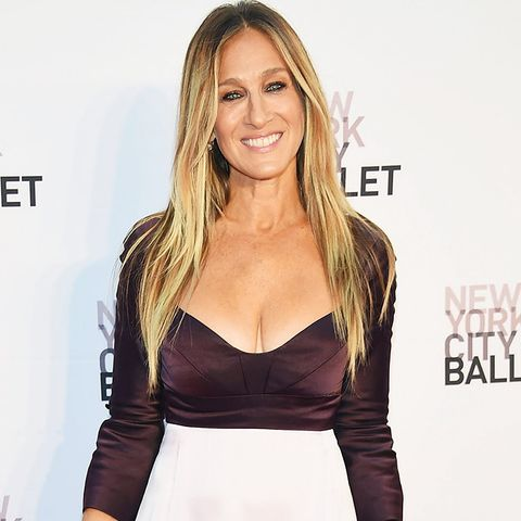 Hair colour ideas: Sarah Jessica Parker with long blonde highlights