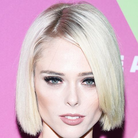Hair colour ideas: Coco Rocha with grey parting