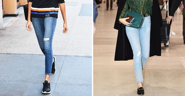 Wear loafer flats with skinny jeans. Kirstin Sinclair/Getty Images When you want to stand out from the crowd in skinny jeans, consider the fashionable effect of pairing body-hugging skinny jeans with menswear-inspired leather shoes.