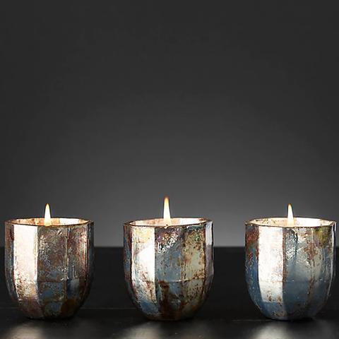 Mercury Glass Luxury Candle Small, Set of 3