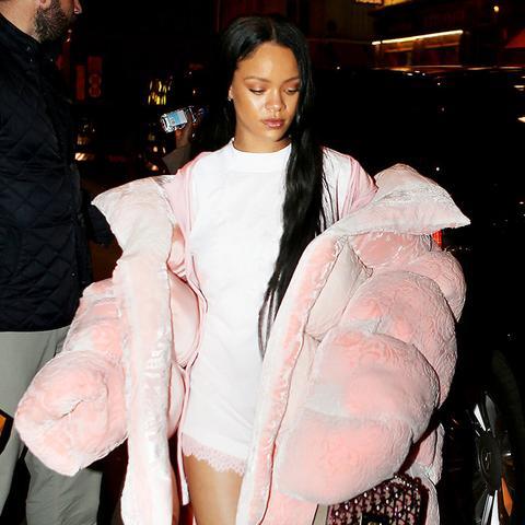 rihanna puffer jacket: pink jacket