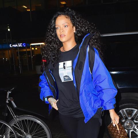 Rihanna puffer jacket: blue