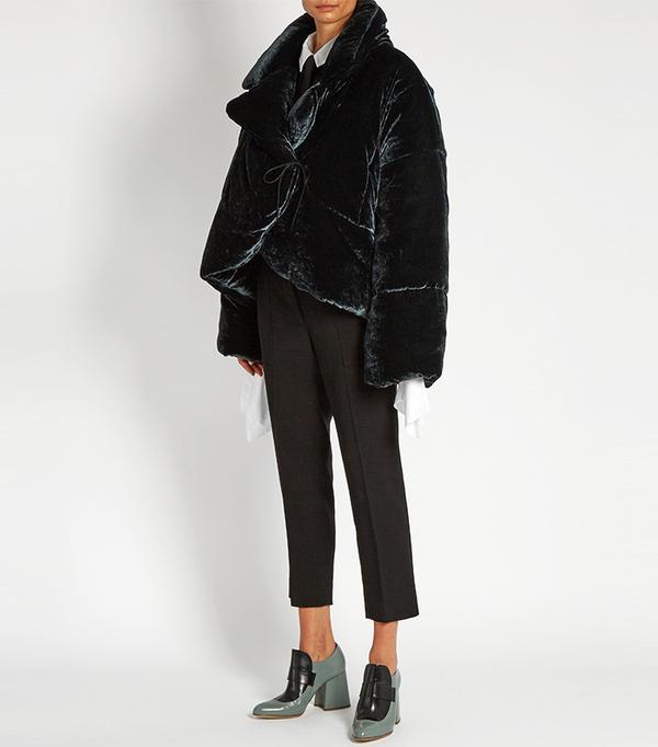Isa Arfen Asymmetric Padded Velvet Coat