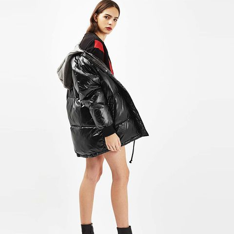 Hooded Wet Look Puffer Jacket