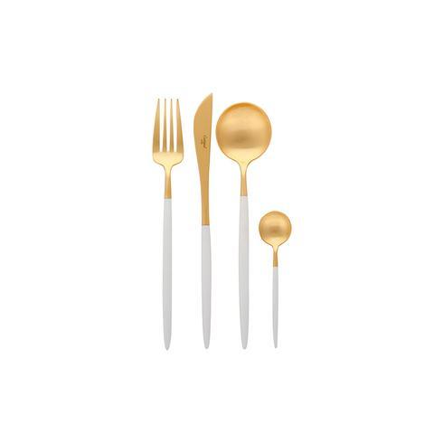 Goa Cutlery Set - 24 Piece - Matt White Gold