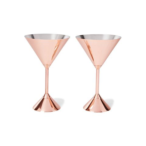 Plum set of two copper-plated martini glasses