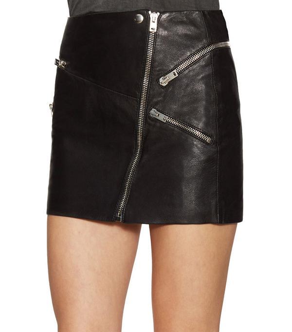 The Kooples Leather Zip Front Mini Skirt