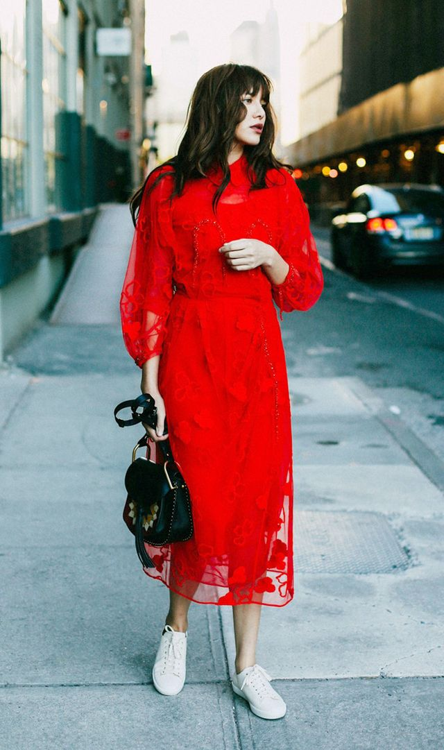 natalie-off-duty-red-dress-sneakers