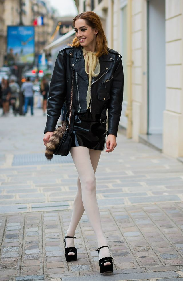 Style Notes: A pair of sheer or light-coloured tights is a fun way to offset an otherwise mostly black look. If you're feeling the leather vibes this season, tone it down with a pair like this.
