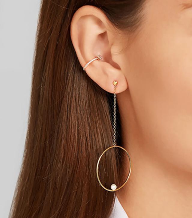 Anissa Kermiche 14-Karat Gold Pearl Earring