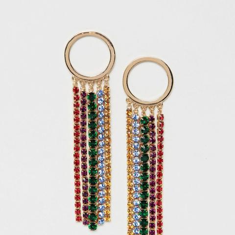 Statement Rainbow Jewel Chain Earrings