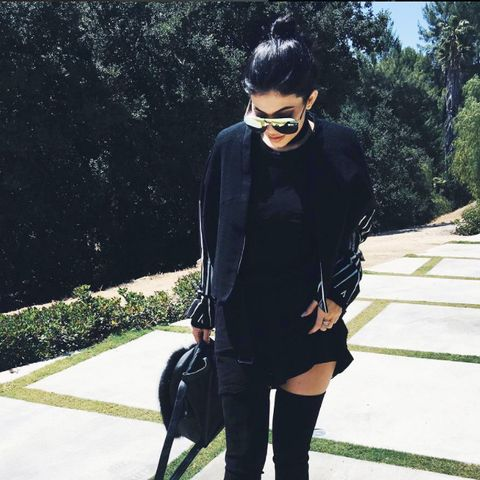 Kylie Jenner celebrity style: over the knee boots