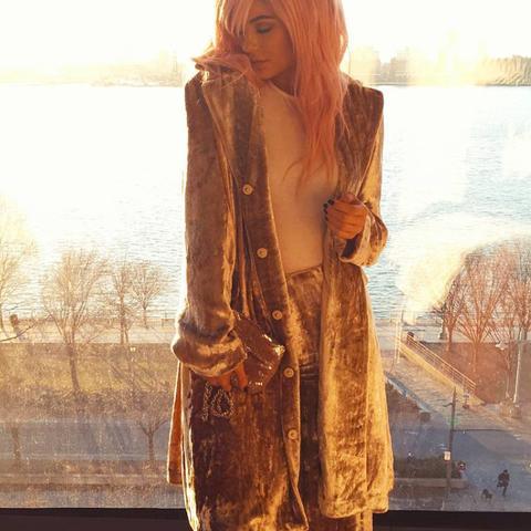 Kylie Jenner celebrity style: velvet suit