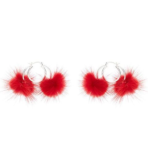 Double Long Hair Pom Pom Hoop Earrings