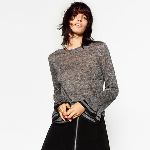 Sweater with Sleeve Frill