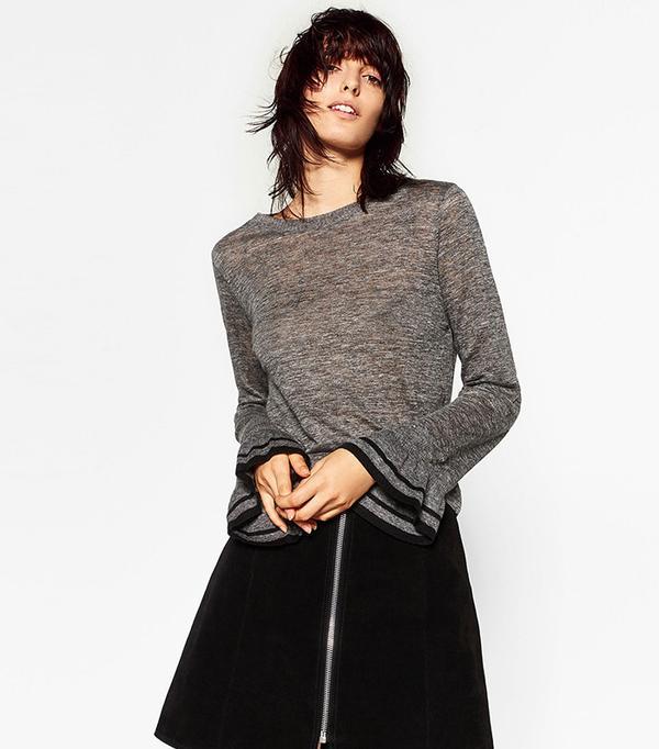 Zara Sweater with Sleeve Frill