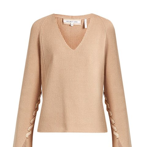 Lace-Sleeve V-Neck Wool and Cashmere-Blend Sweater