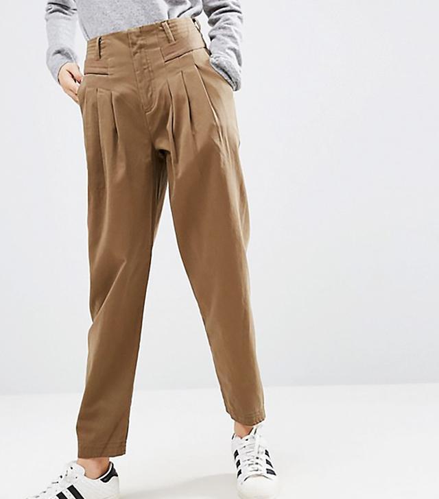ASOS High Waist Brushed Chino Pants