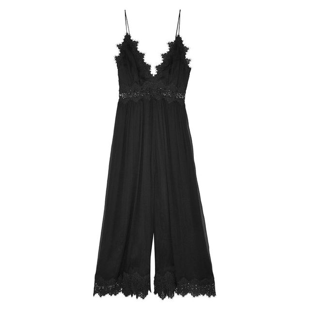 Zimmermann Tropicale Lace-Trimmed Crinkled Silk-Georgette Jumpsuit