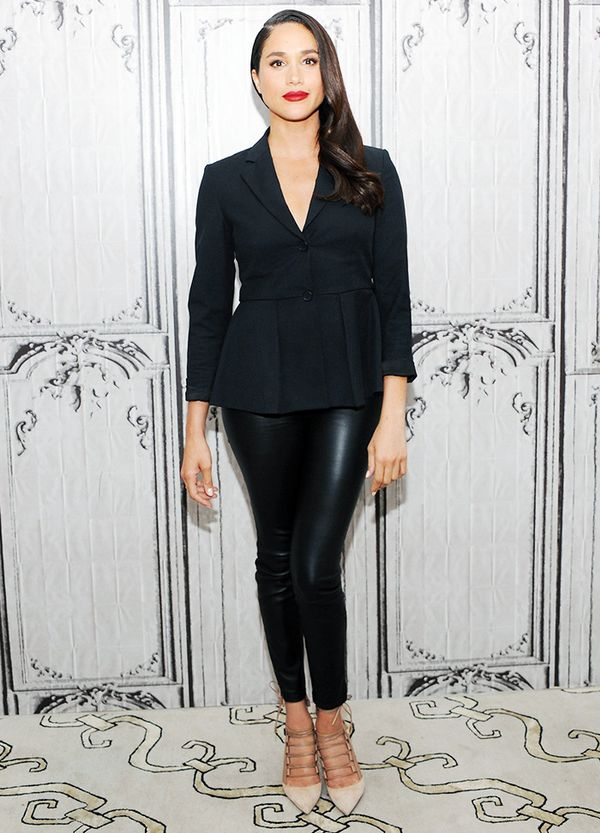 Meghan Markle's style also includes a classic pair of black leggings and blazer