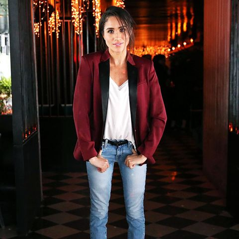 Meghan Markle's style is classic, such as with this classic blazer, white tee, and jeans