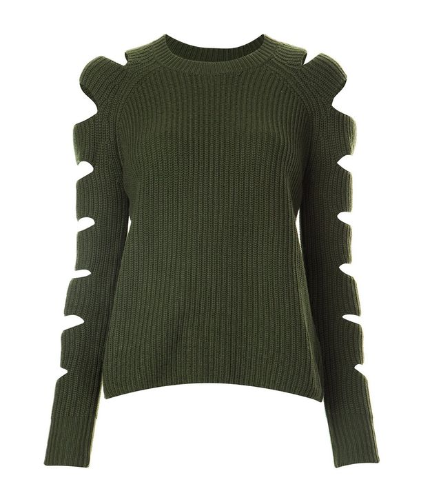 Zoe Jordan Cut-Out Sleeve Ribbed Jumper