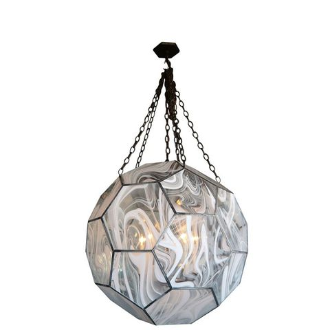 White Wave Glass Honeycomb Light Fixture