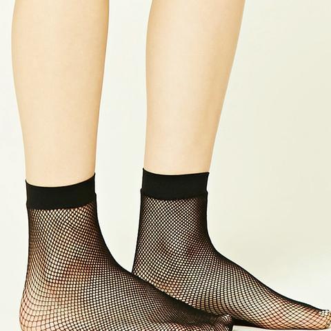 Sheer Fishnet Crew Socks