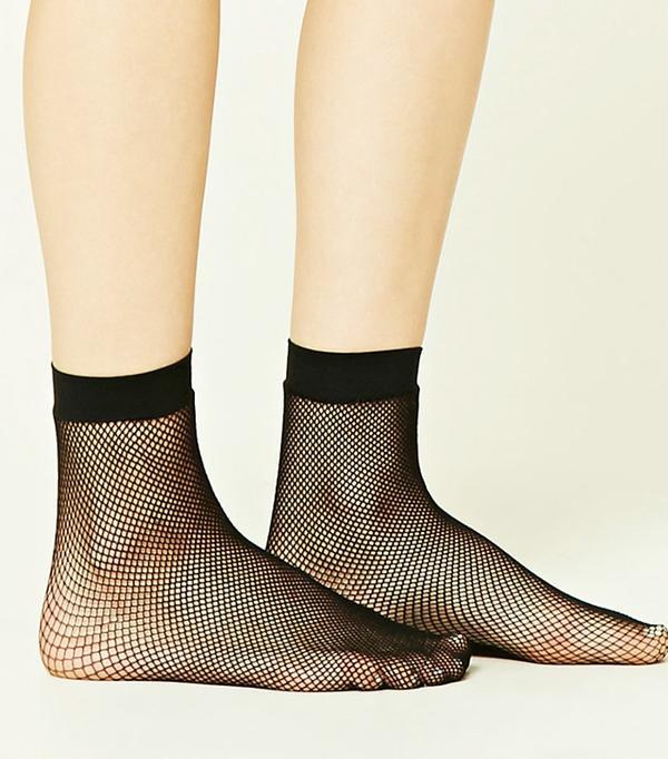 Forever 21 Sheer Fishnet Crew Socks