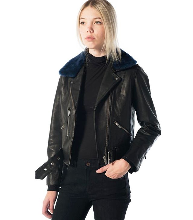 Veda National Leather Moto Jacket with Navy Shearling Collar