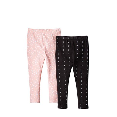 Baby Girls' 2-Piece Legging Set in Peach and Charcoa