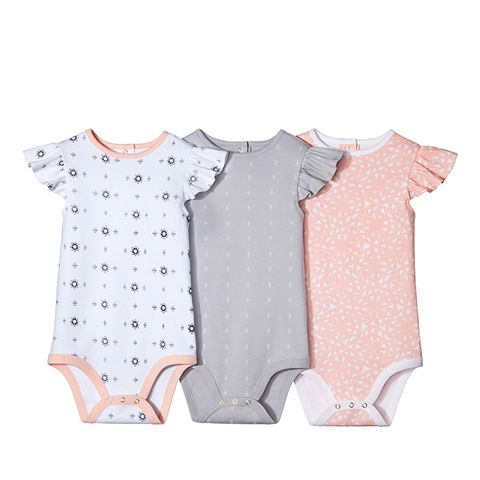 Baby Girls' 3-Piece Bodysuit Set in Peach and White